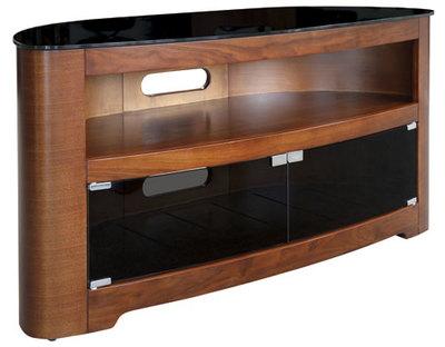"""OMP 3 Shelf 32-46"""" TV Table Walnut with doors Waiau"""