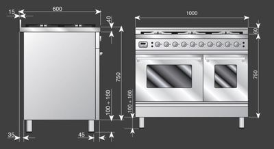 Ilve 100cm quadra series freestanding cooker pdw1006mp i 2