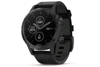 Garmin fenix 5S Plus Black with Black Leather Band
