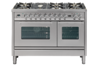 ILVE 120cm Stainless Steel Gas Cooker with Double Electric Oven