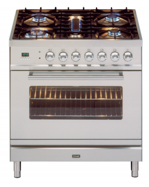 ILVE 80cm Stainless Steel Gas Cooker with Electric Oven