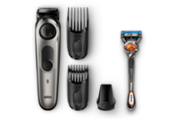 Braun Beard Trimmer with Precision Dial, 3 Attachments and Gillette Fusion5 ProGlide Razor