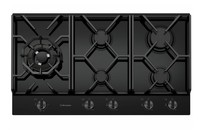 Westinghouse 90cm 5 burner black tempered glass gas cooktop