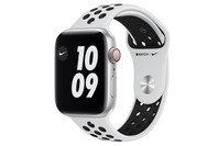 Apple Watch Nike SE GPS + Cellular, 44mm Silver Aluminium Case with Pure Platinum/Black Nike Sport Band - Regular