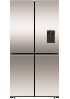 Fisher & Paykel 605L Recessed Handle Quad Door Fridge with Ice & Water Dispenser - Stainless Steel