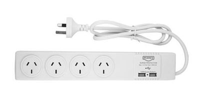 Pudney 4 Way Surge Protector with 2 USB Outlets
