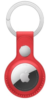 Apple Airtag Leather Key Ring - Red