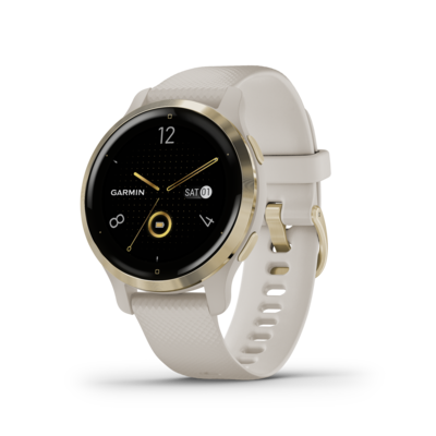 Garmin Venu 2S Light Gold Stainless Steel Bezel with Light Sand Case and Silicone Band